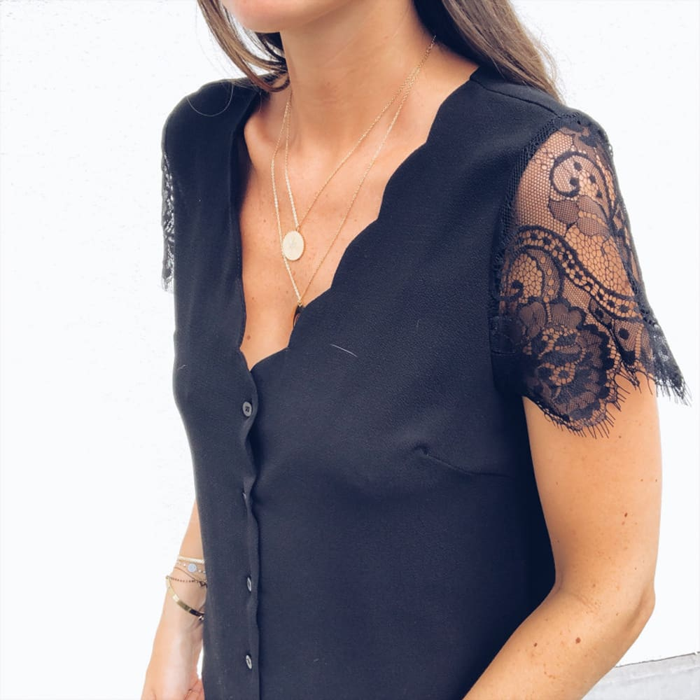 Fashion Women Ladies Short Lace Sleeve V-Neck Chiffon Shirts Summer Beach Solid Casual Party Tops Blouse Hot