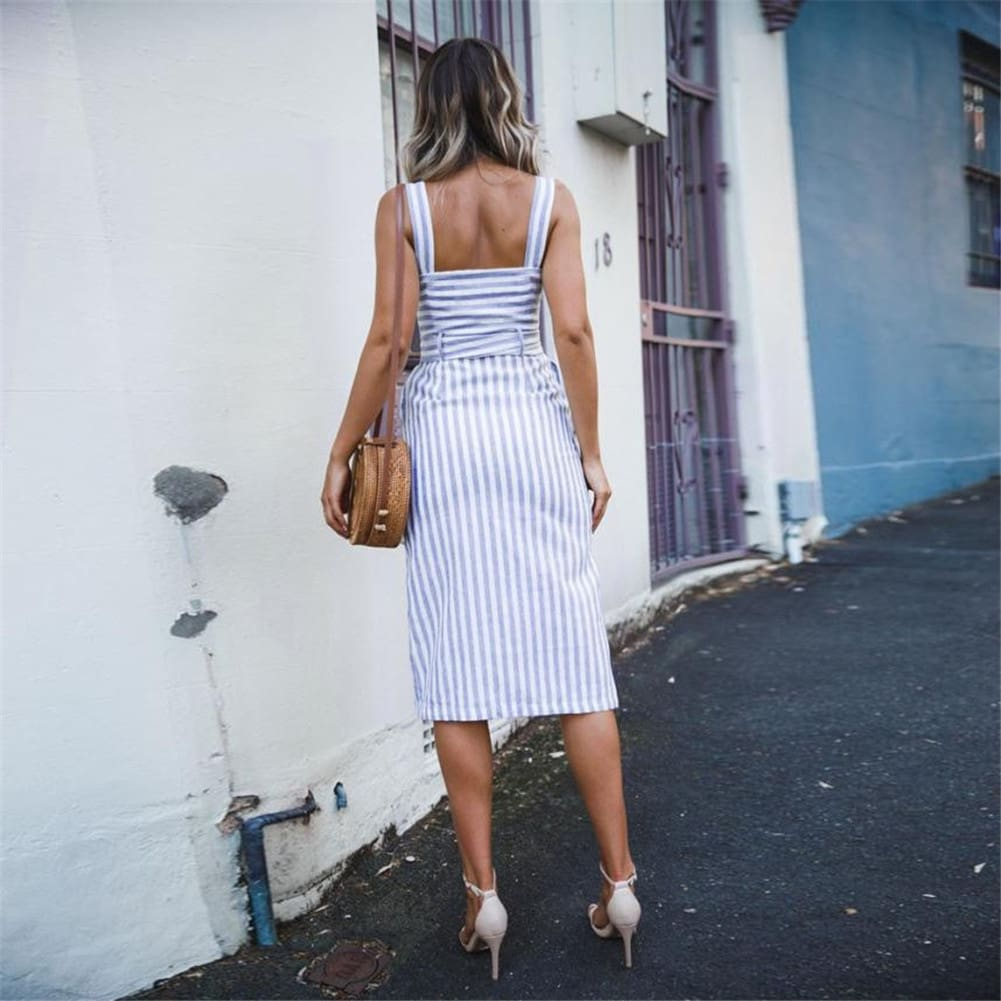 Women Dress Striped Sundress Summer Holiday Beach Midi Dress