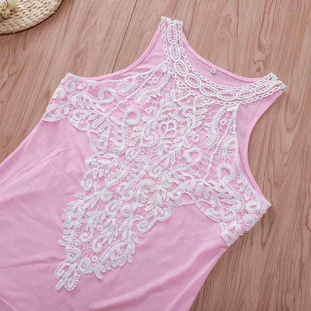 Lace Tank Top Vest Blouse Sleeveless Fashion Solid Beach Crop Top Shirt Cami Top
