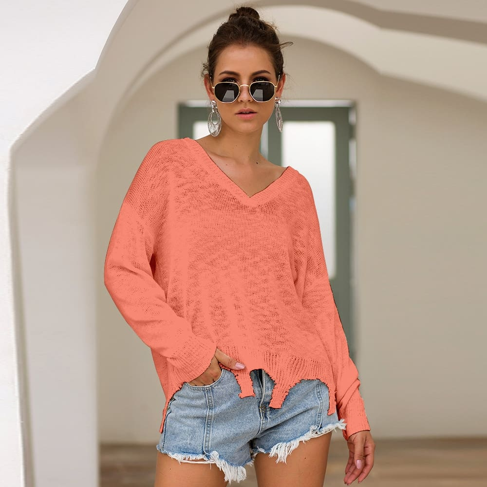 Irregular Crop Top Sweater Women Slim Pullovers V Neck Jumper Sweater