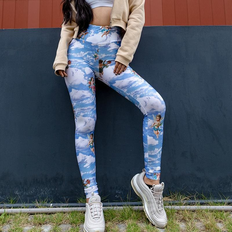 2019 Fashion New Women Printed Fitness Legging High Waist Workout Pants Running Gym Sports Stretch Trousers