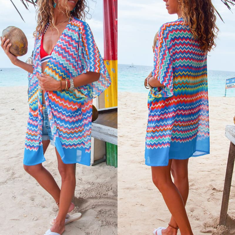 Women Bikini Cover Up Print Half Sleeve Short Coat Ladies Beach Coat Female Summer Beach Holiday Cover Up Clothes 2 Color