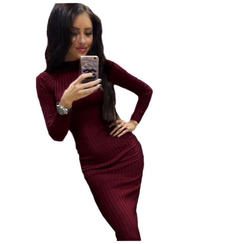 Autumn Women Bodycon Sheath Dress Knitted Cotton Long Sleeve Dresses