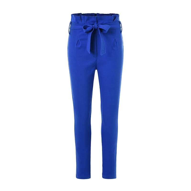 Women High Waist Pants with Waist Belt Elegant Casual Fashion Trousers