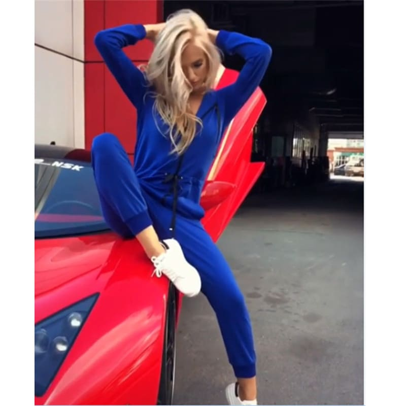 New Fashion Women Jumpsuit Long Sleeve High Waist Jumpsuit Hoodies Street Wear Drawrsing Jumpsiut Romper Long Trousers