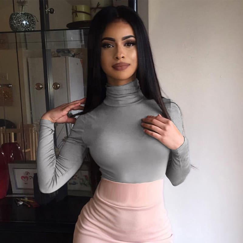 Women Turtleneck Slim Crop Tops Summer Autumn Tank Tops Ladies Camis