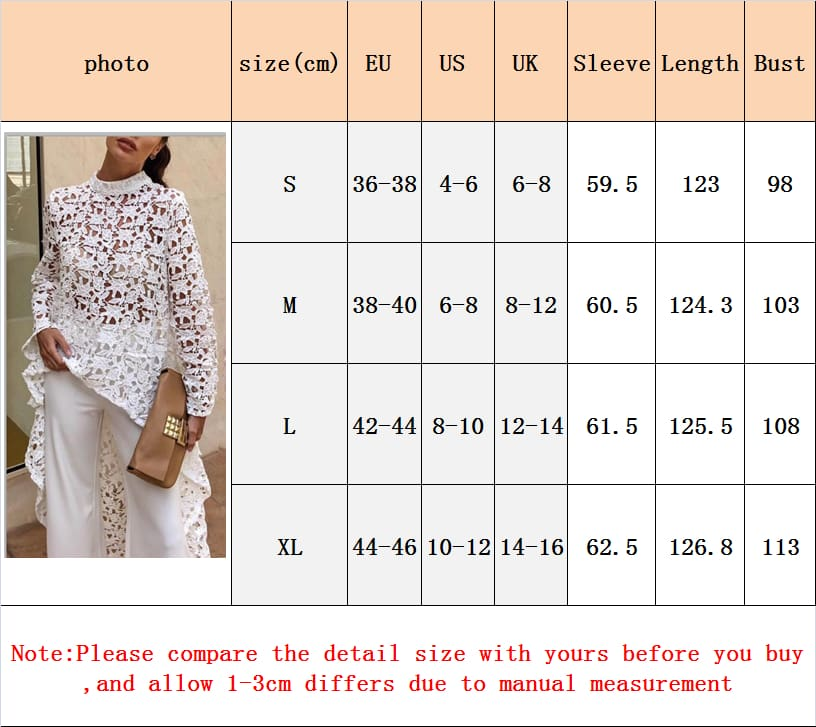 Fashion Women Irregular Loose Long Sleeve Casual Lace Jumper Stretch Pullover Hollow Floral Tops Blouse Tunic