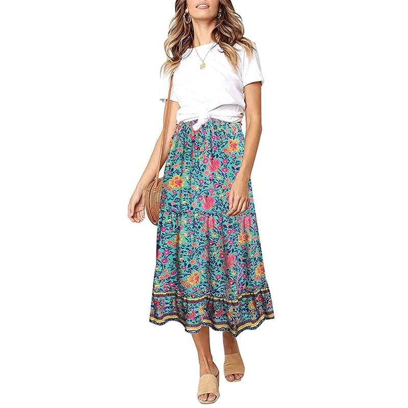 Women Boho Floral Elastic Waist Print Maxi Skirt Summer Women Ruffles Long Swing Beach Skirt Holiday Clothing