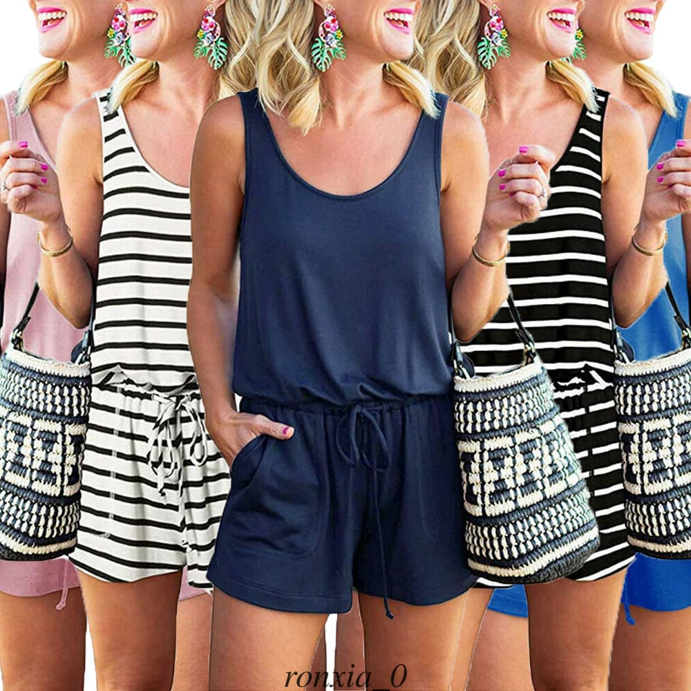 Fashion Women Casual Striped Playsuit Jumpsuit Beach Summer Holiday Shorts Romper New Ladies Casual Jumpsuit Trouser