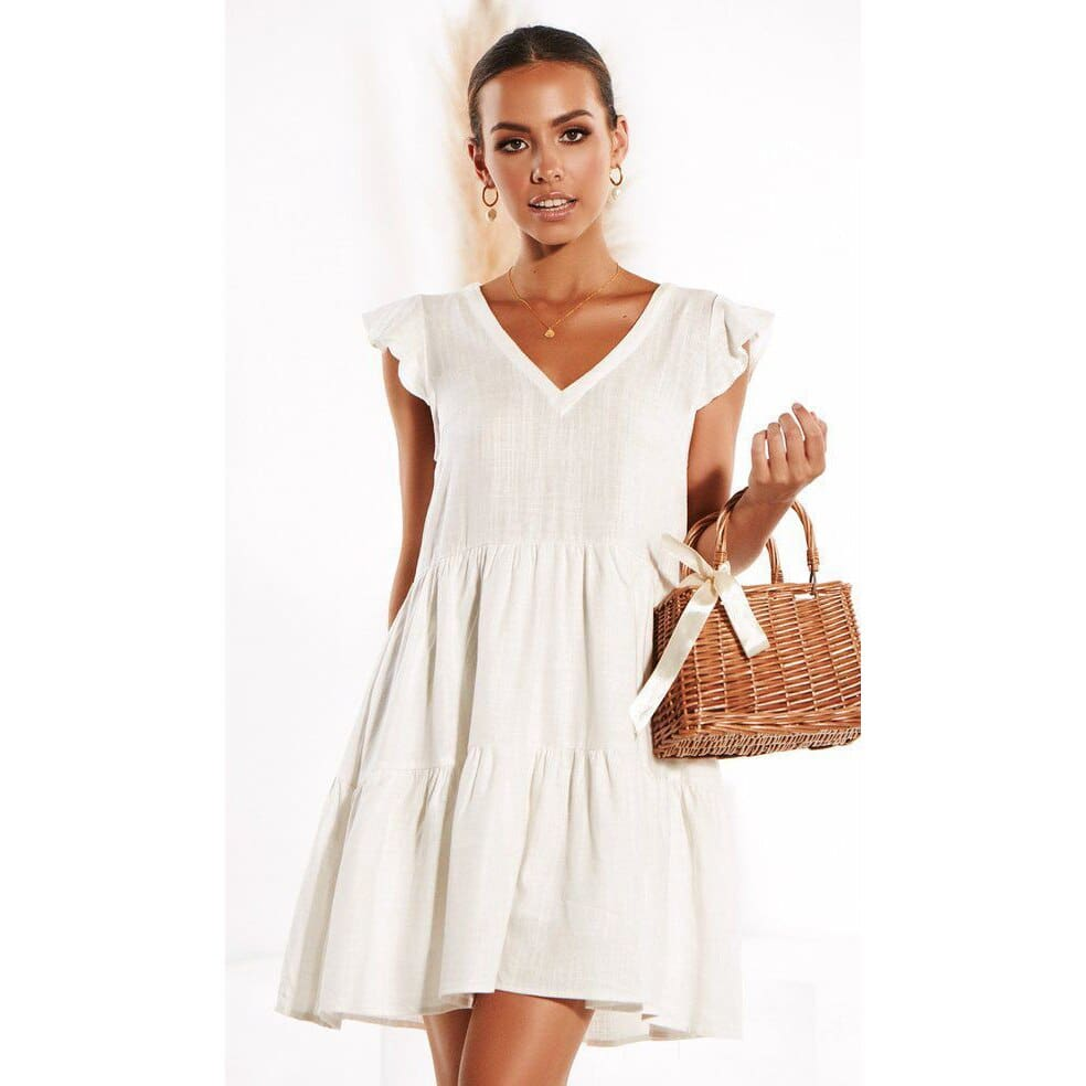 Women Loose Summer Dress Short Sleeve V Neck Mini Casual vintage dress