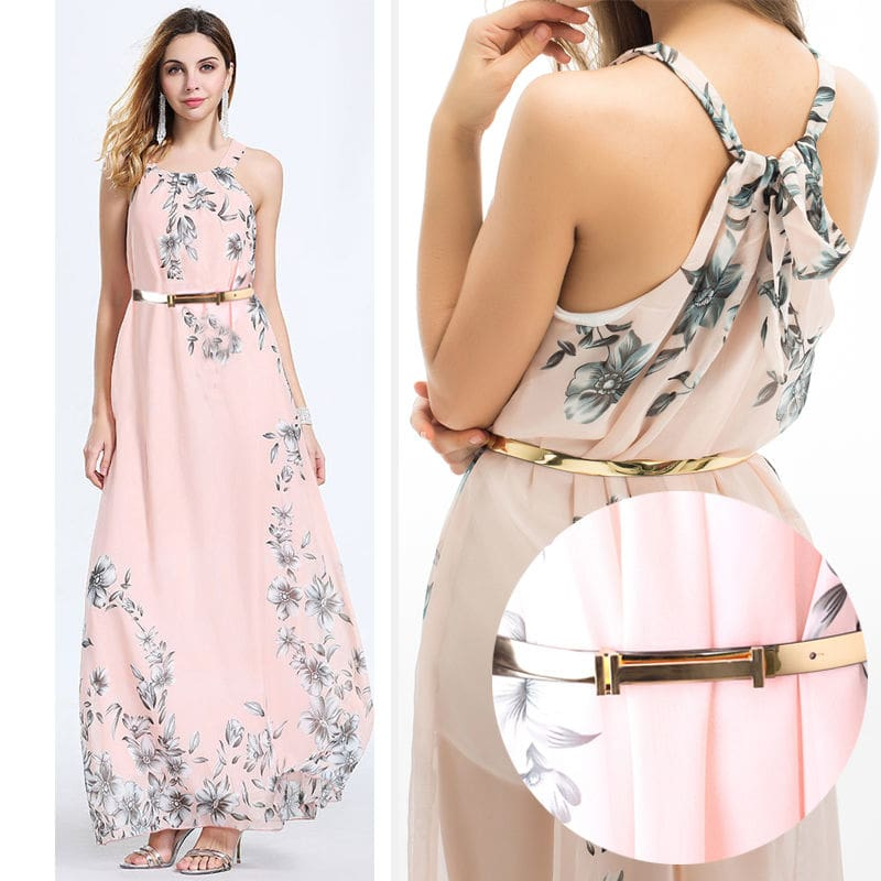Women Summer Floral Sleeveless Dress Backless Dress Summer High Waist Print Sundress Dress