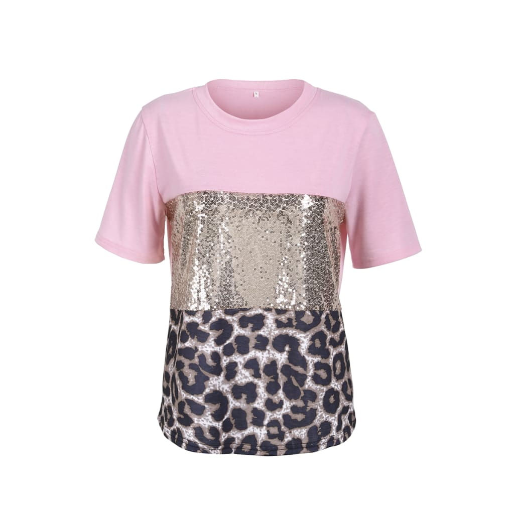 Fashion Women Girls Short Sleeve Paillette Summer Casual Shirt Holiday Leopard Soft Tops T-Shirt New