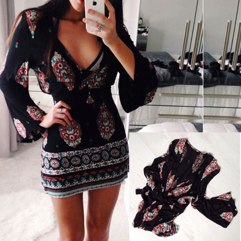 Women Short Summer Dress Casual V Neck Long Sleeve Printed Dress