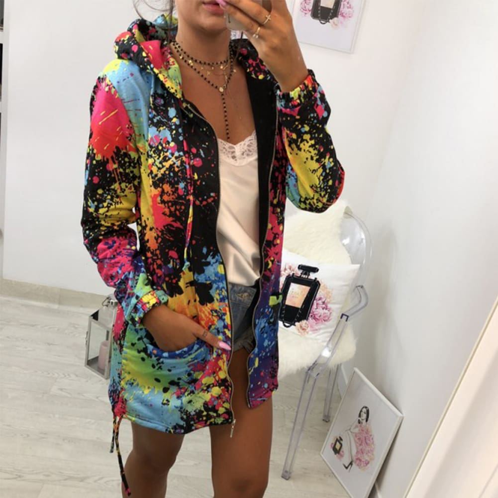 Fashion Women Floral Hooded Femme Coats and Jackets Harajuku Hip hop Kpop Jacket Outwear Dames Kleding Streetwear