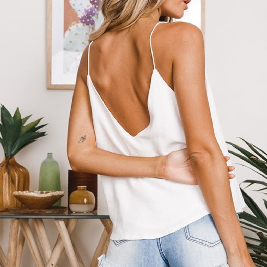 White Chiffon Tops Fashion Women Solid V-Neck Loose Backless Crop Top