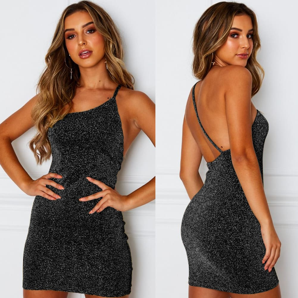 Elegant Fashion Women Strappy Backless Mini Dress Bodycon Summer Beach Sundress Party Casual Glitter Formal Dress