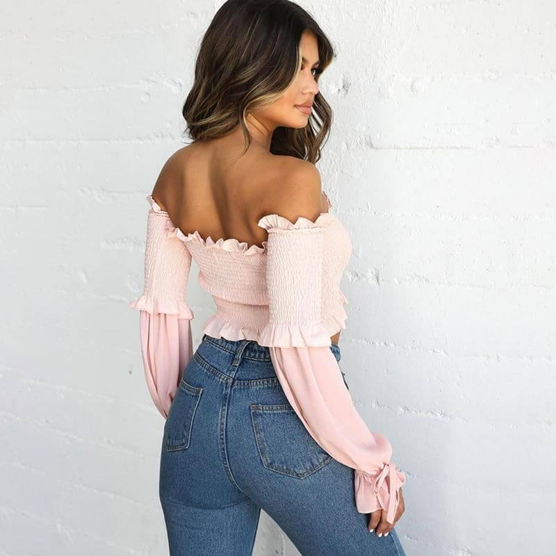 Long Sleeve Top Ribbed Elastic Pleated Frill Vintage Blouse Women Fall