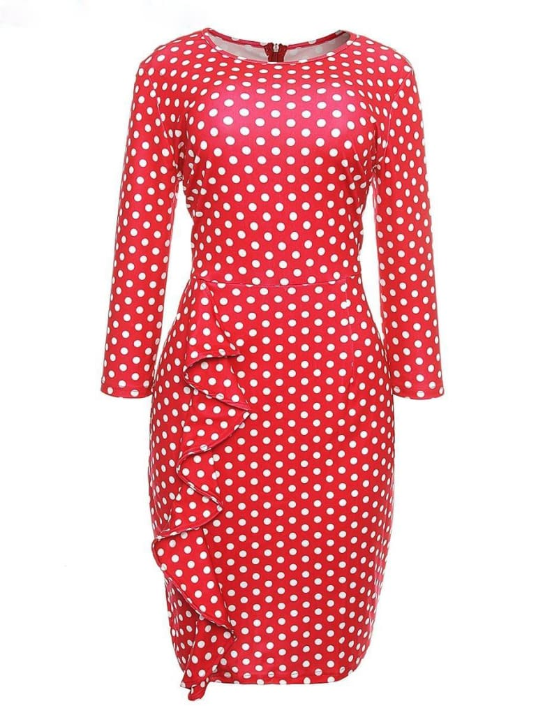 Elegant Women Ladies Sexy Long Sleeve Polka Dots Ruffle Bodycon Slim O-Neck Casual Party Long Pencil Dress