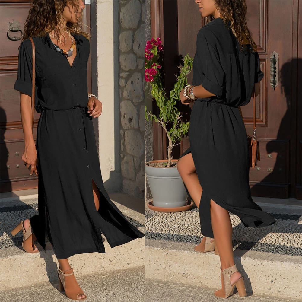 Elegant Women Sexy V Collar Long Maxi Dress OL Ladies Casual Long Sleeve Solid Holiday Summer Beach Sundress