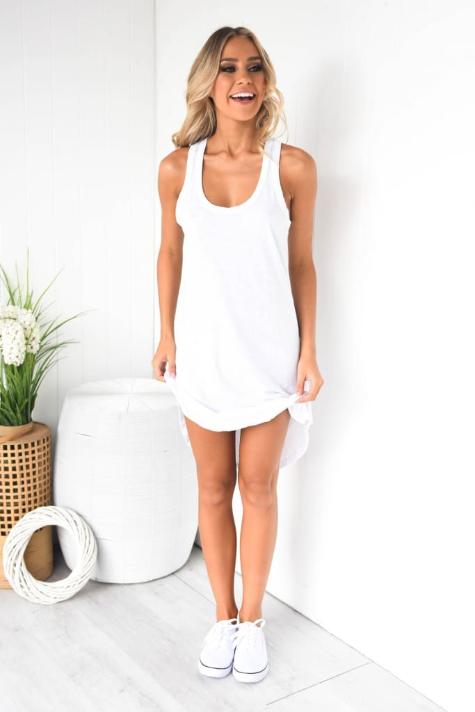 Women Sleeveless Vest Dress Ladies O-Neck Solid Casual Summer Beach Loose Mini Sundress