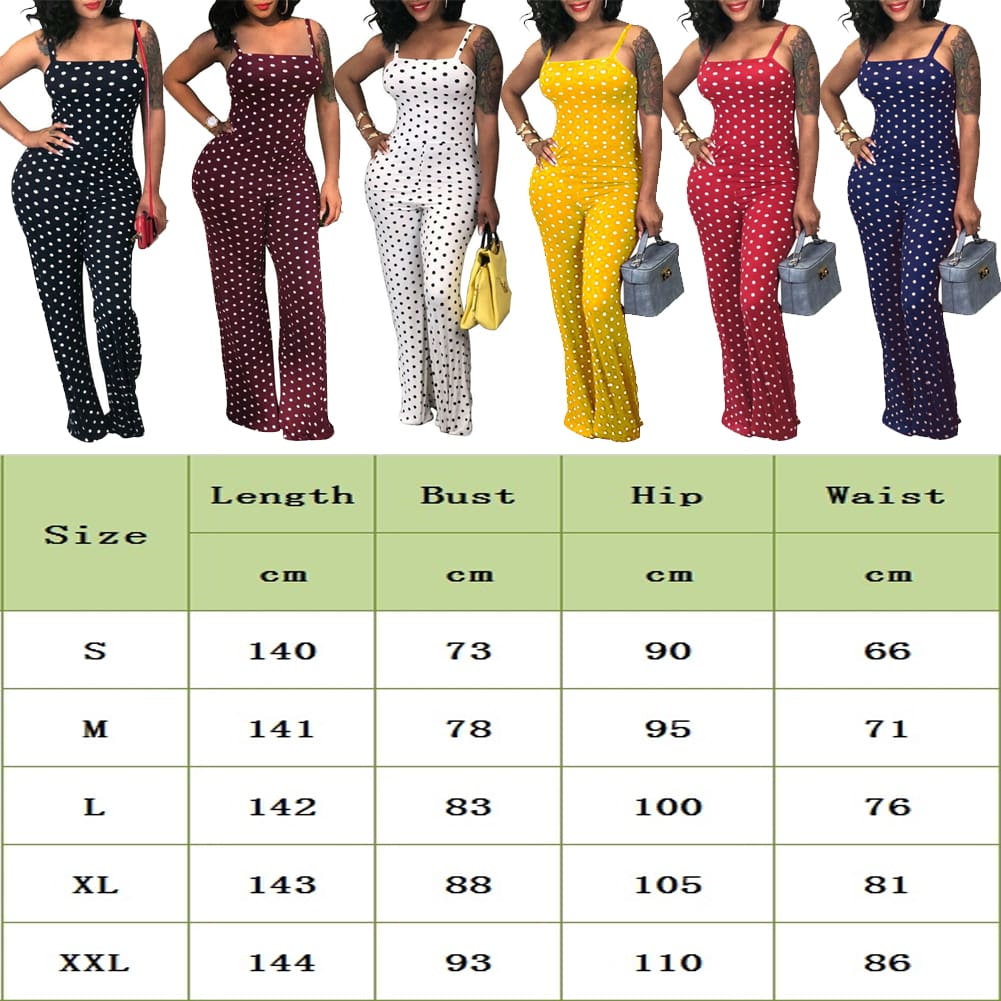 Fashion Womens Playsuit Ladies Polka Dot Summer Beach Sleeveless Romper Wide Leg Long Pant Trouser Holiday Jumpsuits