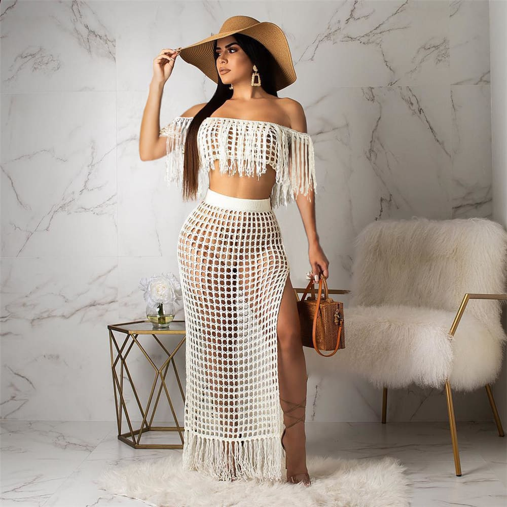 2pcs Women Cover up Hollow Out Perspective Tassel Boat Neck High Slit Solid Casual Summer Beach Long Dress