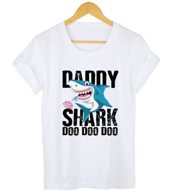 DADDY&MAMA SHARK Women Men Cotton Short Sleeve Loose Top Summer Casual Crew Neck T-Shirt Tee Tops