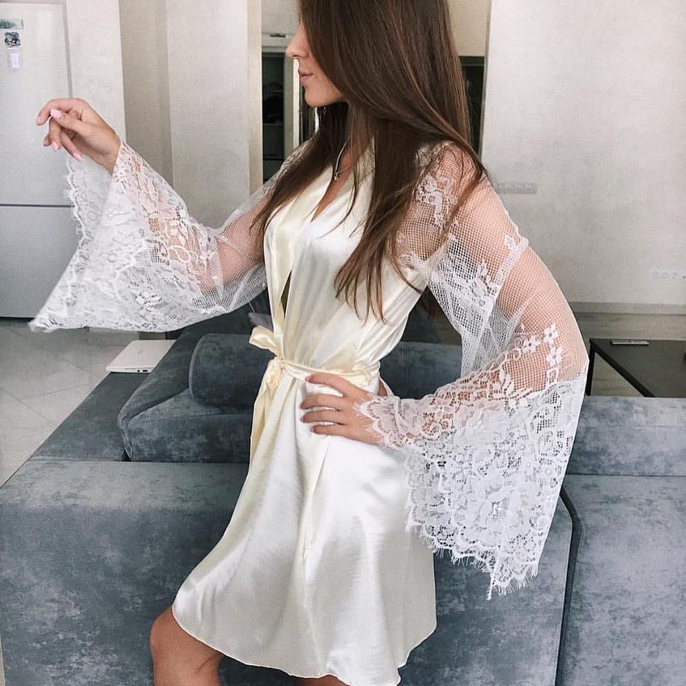 Women Sexy Lingerie Long Sleeve Perspective Lace Flower Bathrobe Solid Deep V Bandgae Silk Robe Lady Nightgown