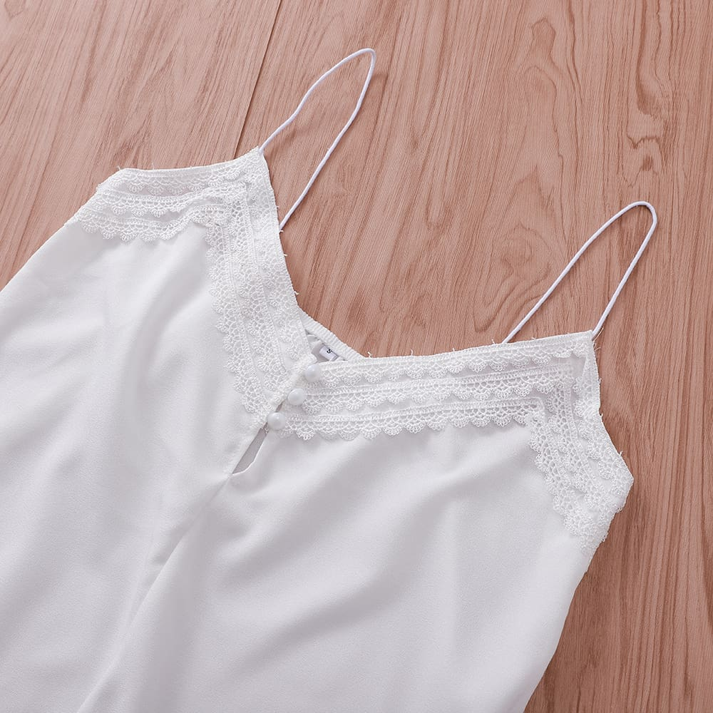 Women Lace Cami Soft Sleeveless Crop Top Ladies Backless Party Clubwear Casual Summer White Shirt Clothes