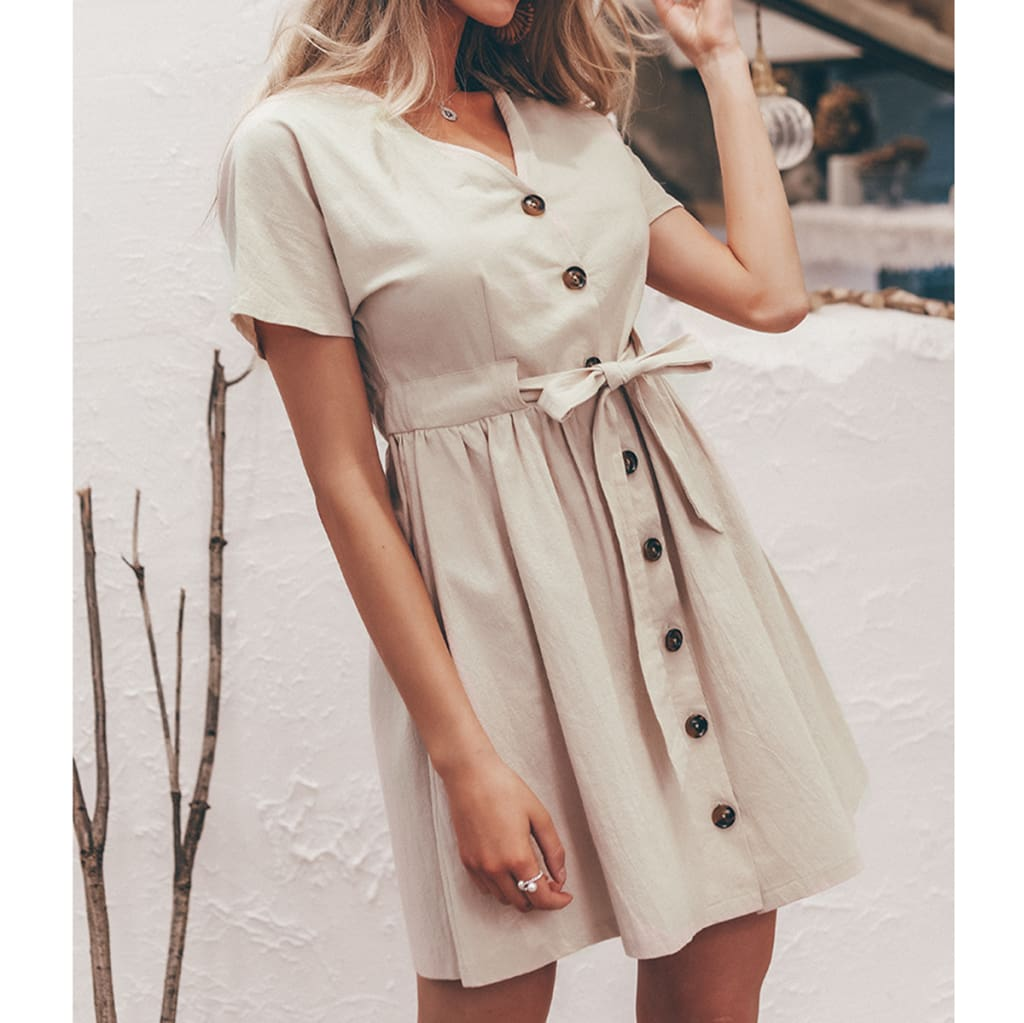 Fashion Women Boho Cotton Linen Sundress Ladies Summer Short Sleeve Holiday Beach Button Loose Solid Short Dress