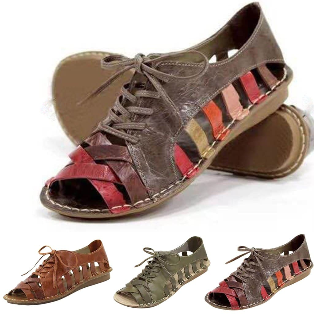Lace Up Hollow Out Neutral Flat Summer Rome Sandals Shoes