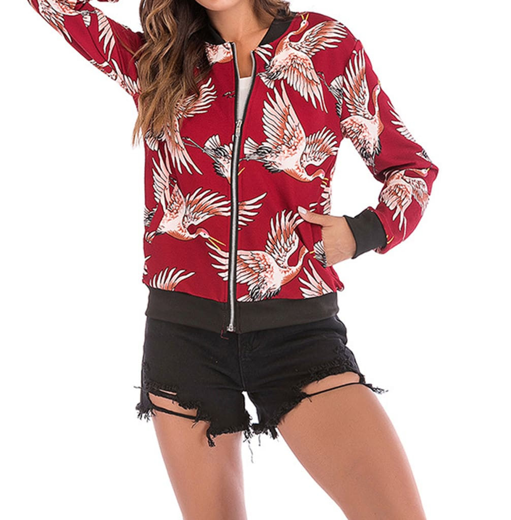 Boho Retro Floral Bomber Jacket Flowers Womens Coat Long Sleeve Fashion Ladies Outdoor Zip Up Biker Outwear