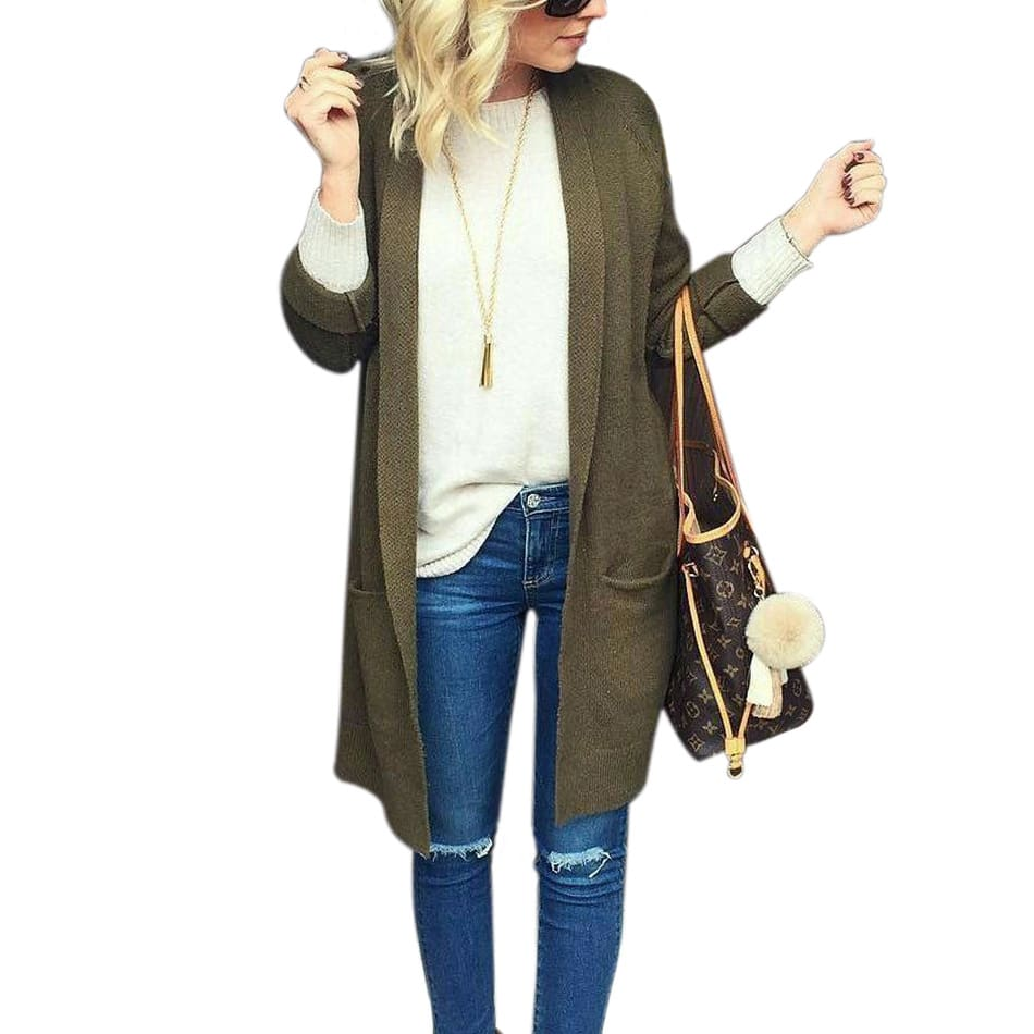 Fashion Open Stitch Knitted Sweater Long Sleeve Pocket Cardigan