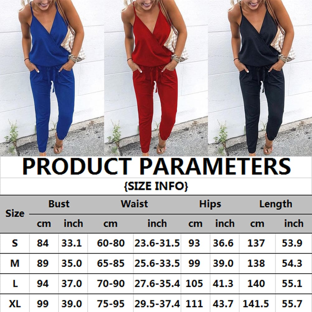 2019 Casual Women Ladies Summer Holiday Long Playsuit V-neck Backless Long Pant Playsuit Beach Sleeveless Romper