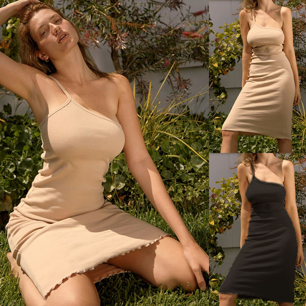 Women Bandage Stretchy Package Hip Bodycon Dress Ladies One Shoulder Solid Strap Short Mini Sundress