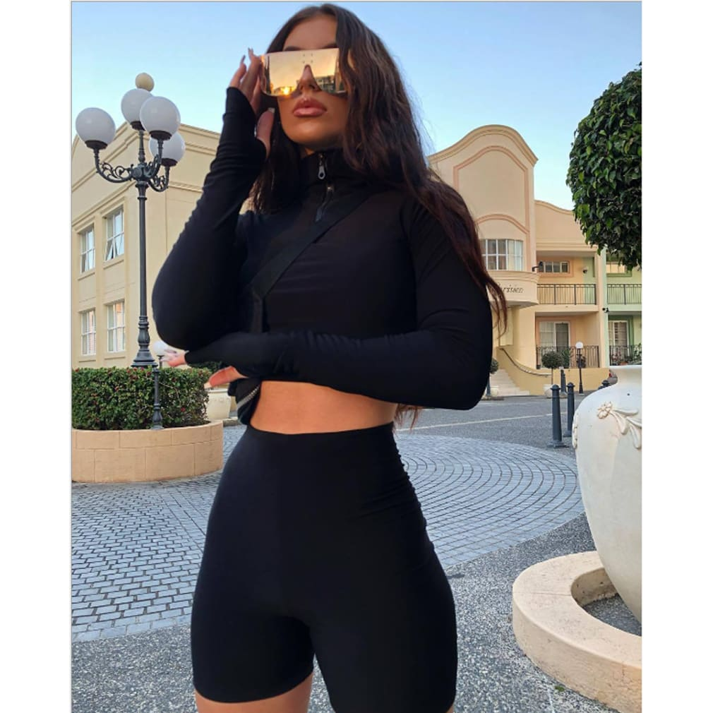 2PCS Womens Solid Stretchy Slim Crop Tops + Shorts Bodycon Casual Outfit Sportswear Workout Clothes Tracksuit