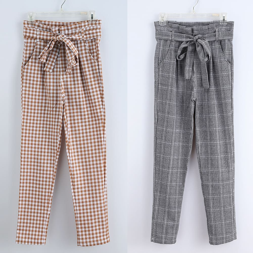 Plaid Harem Pants Women Casual Sweatpants Jogger Fashion Bandage Ruffle High Waist Ankle Length Pants Trousers