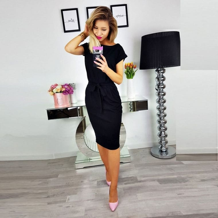 O-neck Short Sleeves Lacing Dresses Women Casual Pockets Simple Dress