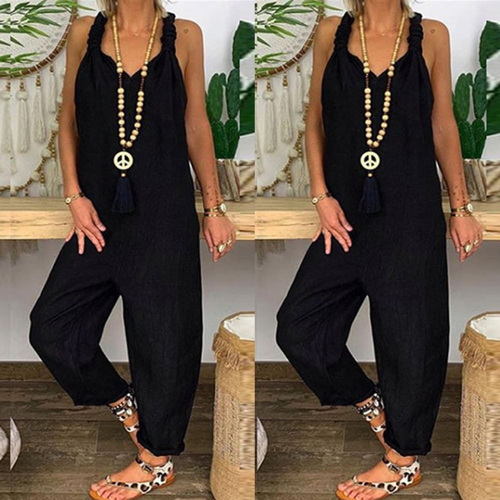Womens Beach Sleeveless Dungarees Harem Strap Bohemian Holiday Long Pant Casual Loose Jumpsuit Baggy Trousers Overalls