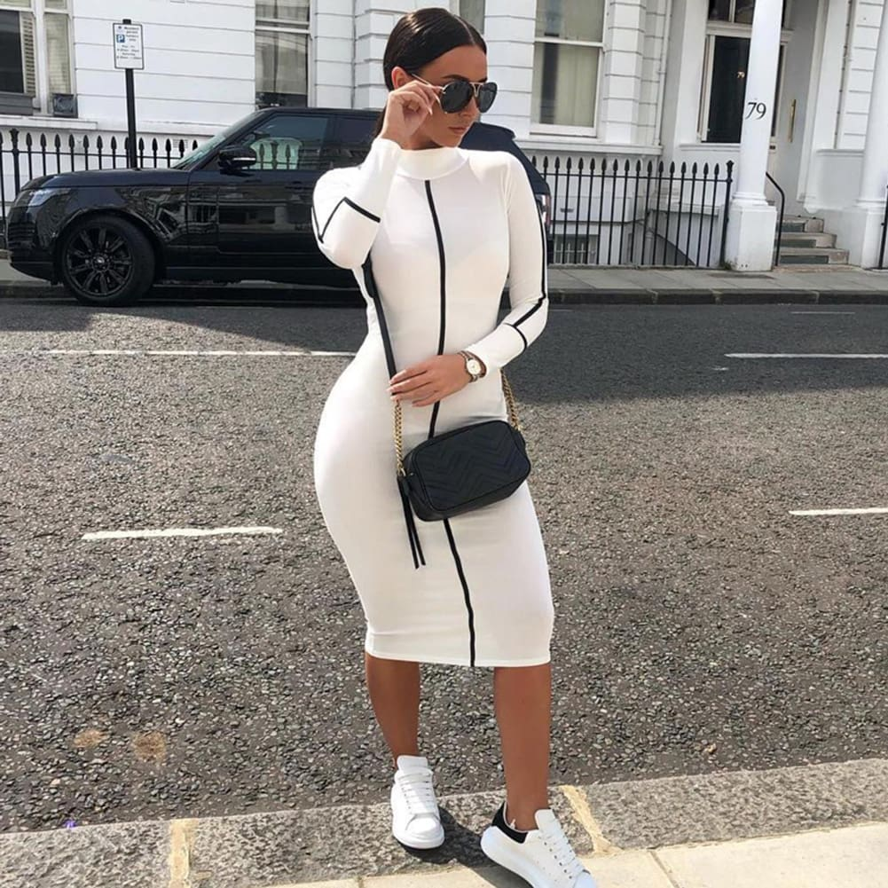 Fashion Women Contrast Color Long Sleeve Temperament Fitness Summer Long Sleeve Bodycon Stretch Pencil Dress