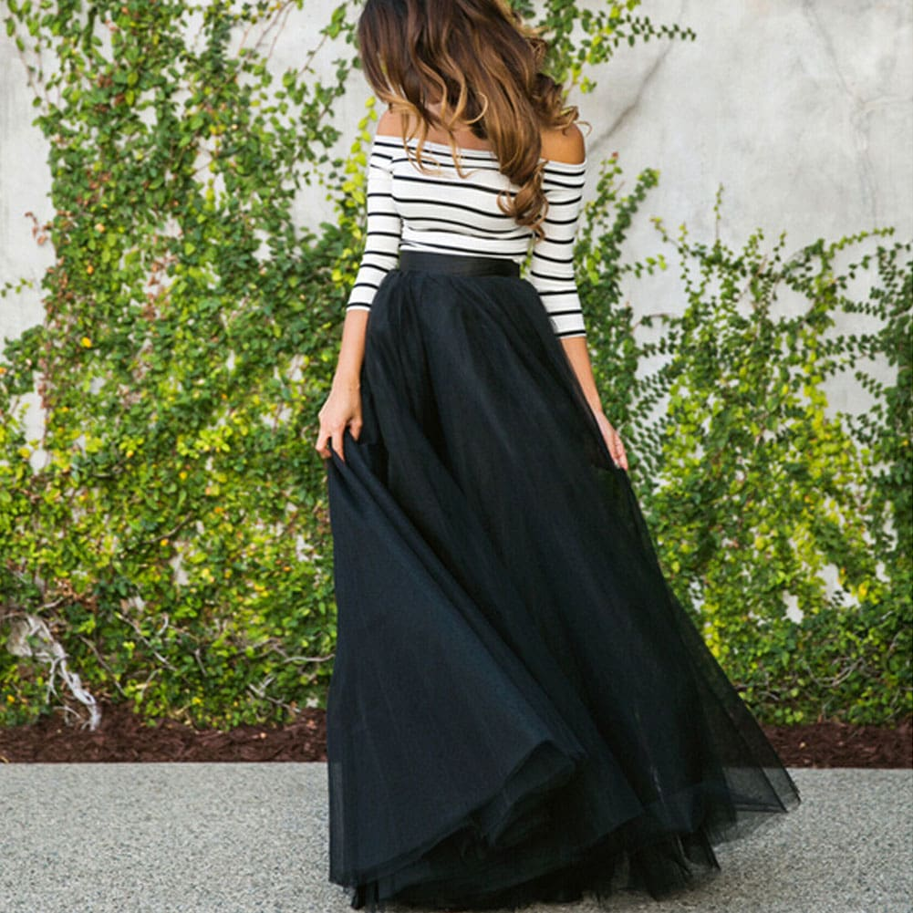 2pcs Fashion Women Ladies Multi Layer Tulle Pleated Retro Skirt Long Maxi High Waist Full Skirt Off Shoulder Striped Top