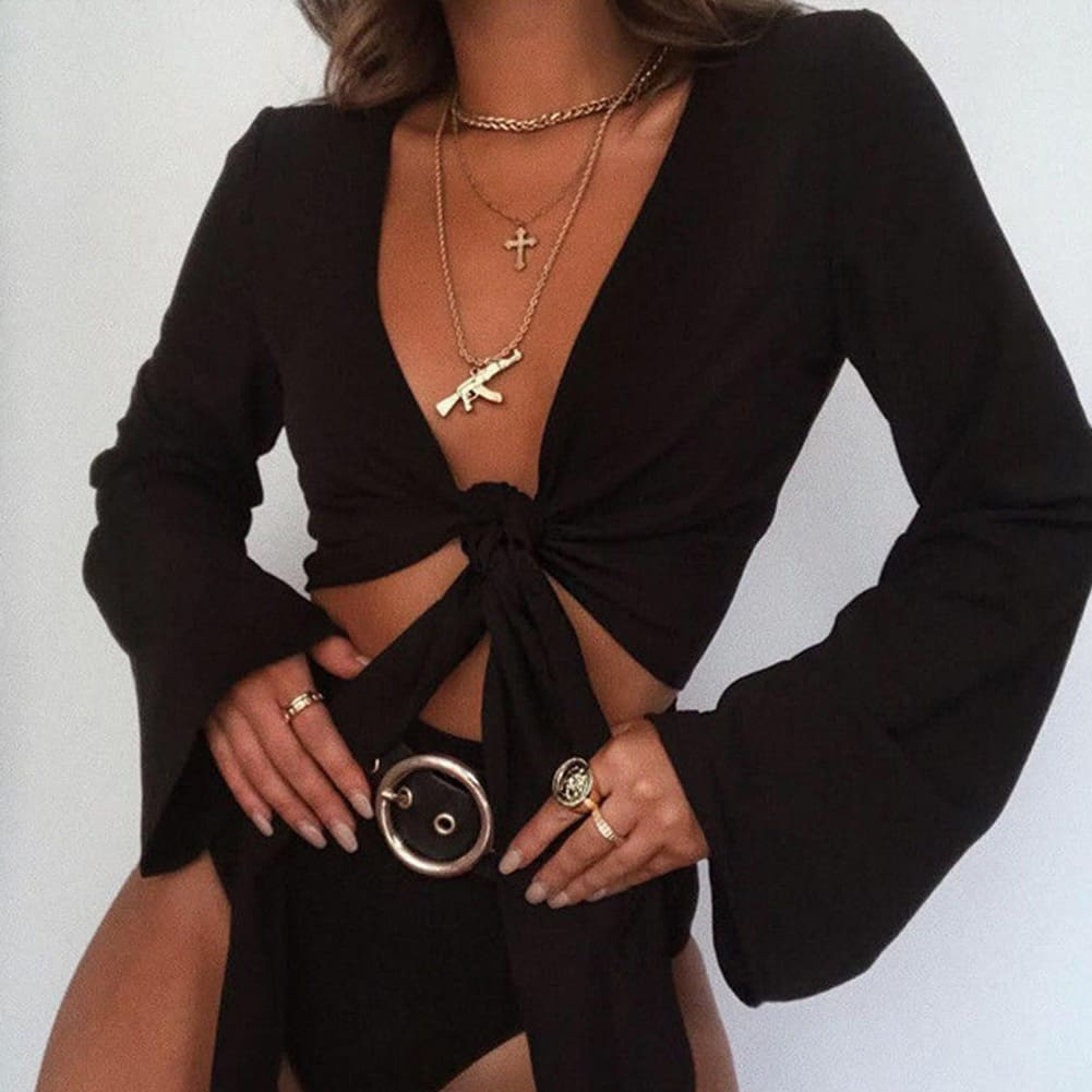 Hot Women Boho Beach Wear Cover Up Summer Holiday Casual Sexy Top Vest Long Sleeve Femme Lady Solid Casual Clothes