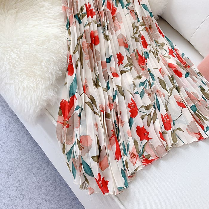 2019 Fashion Women Floral Pleated Boho Midi Skirt High Waist Ladies Casual Summer Party Cocktail Wrap Skirt Sundress