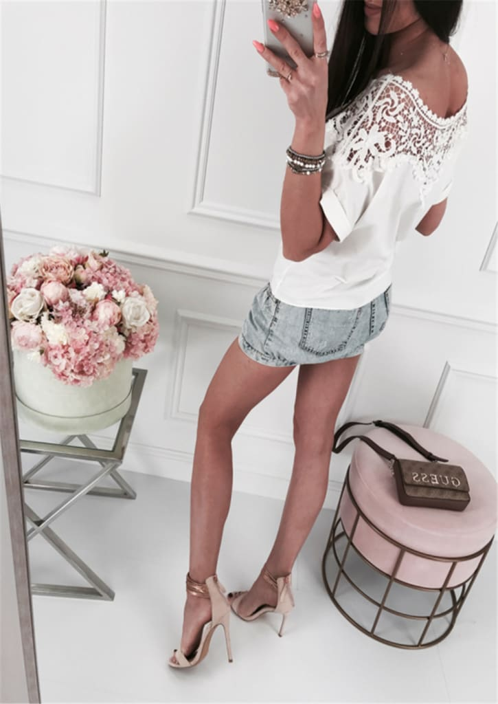 Women Ladies Batwing Short Sleeve Lace Hollow Baggy Casual T-Shirt Tops