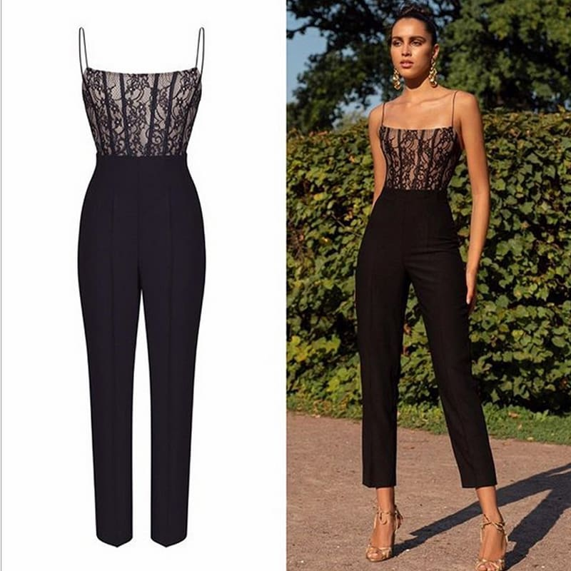Elegant Women Ladies High Waist Sleeveless Summer Off Shoulder Slim Jumpsuit Long Pant Straight Leg Romper