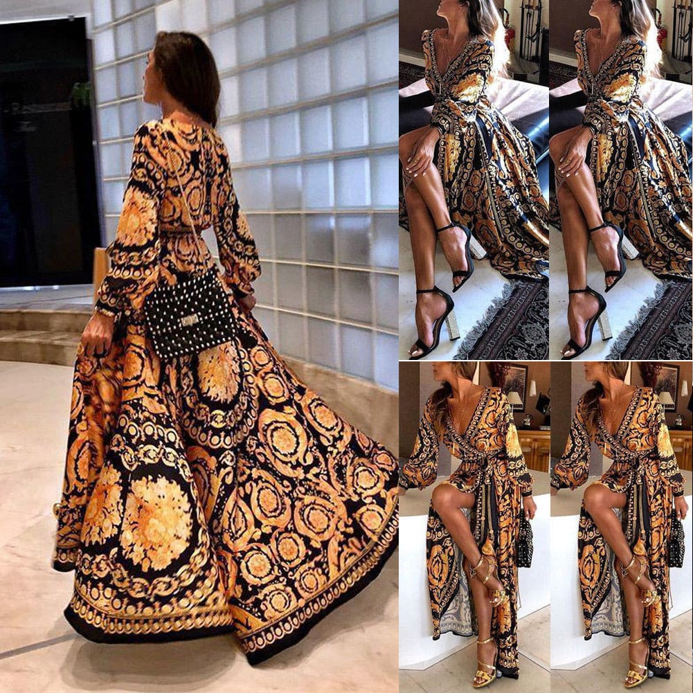 Elegant Women Sexy Casual V-Neck Vintage Boho Floral Long Sleeve Maxi Sundress