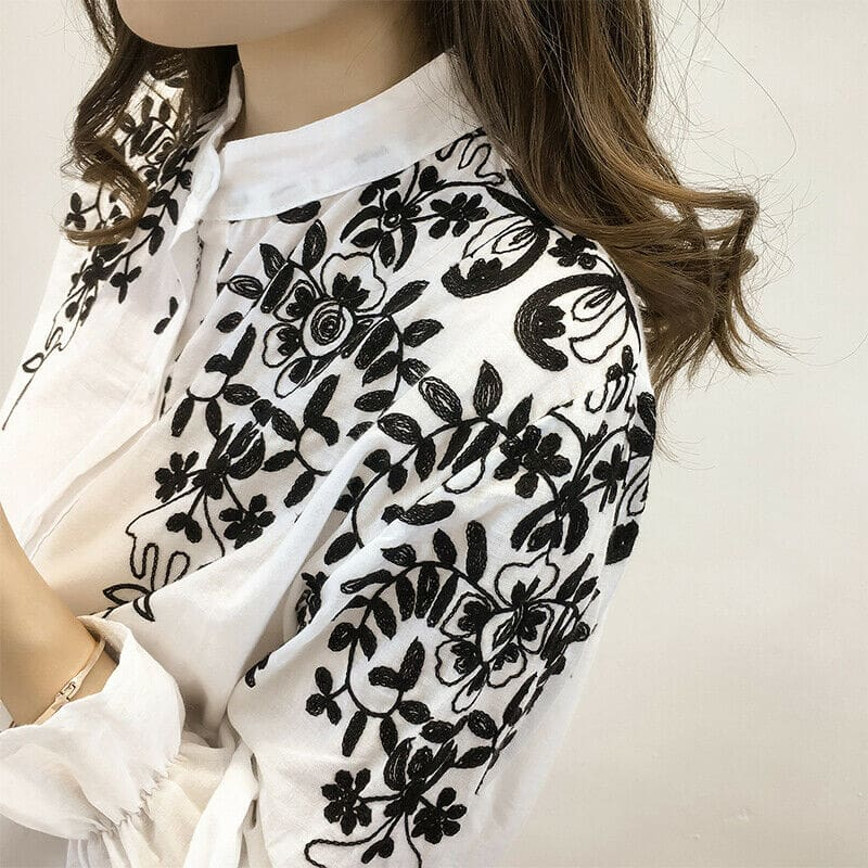 Fashion Women Ladies Long Sleeve Printed Embroidery Casual Blouse Tops Holiday Summer Office Work Shirt Plus Size