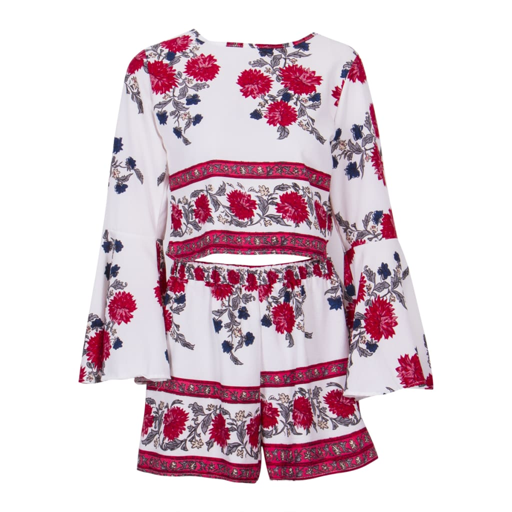 2PCS New Women Floral Bodycon Long Sleeve Crop Top + Shorts Set Summer Holiday Mini Playsuits Boho Floral Beachwear