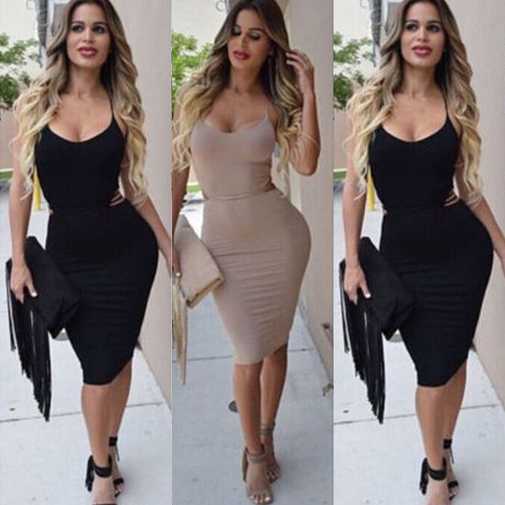 Elegant Fashion Summer Women Sleeveless Bodycon Sexy Backless Solid Casual Party Slim Beach Pencil Dress Sundress