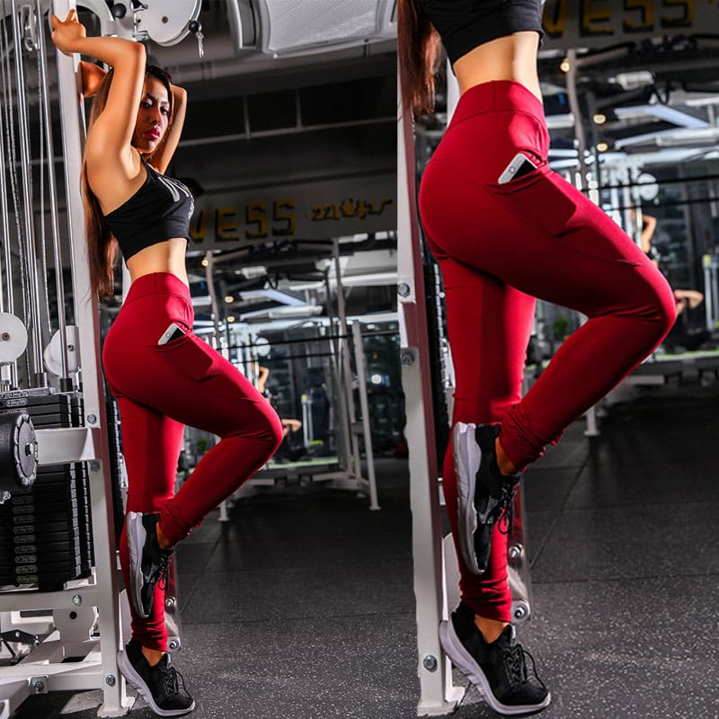 Women Sport Pants High Waist Fitness Leggings Running Gym Elastic Trousers Casual Solid Skinny Workout Athletic Pants